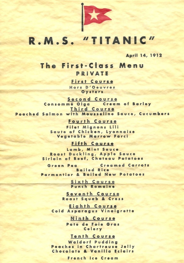 Dish of the Day - Page 5 Titanic-menu